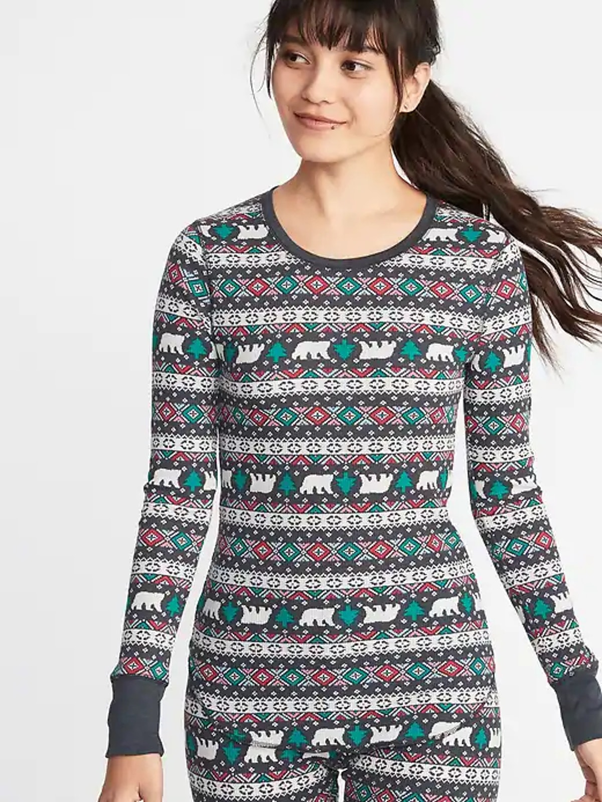 Slim-Fit Printed Thermal-Knit Tee for Women