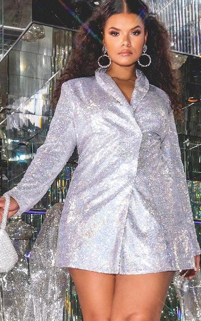 Plus Silver Sequin Dress