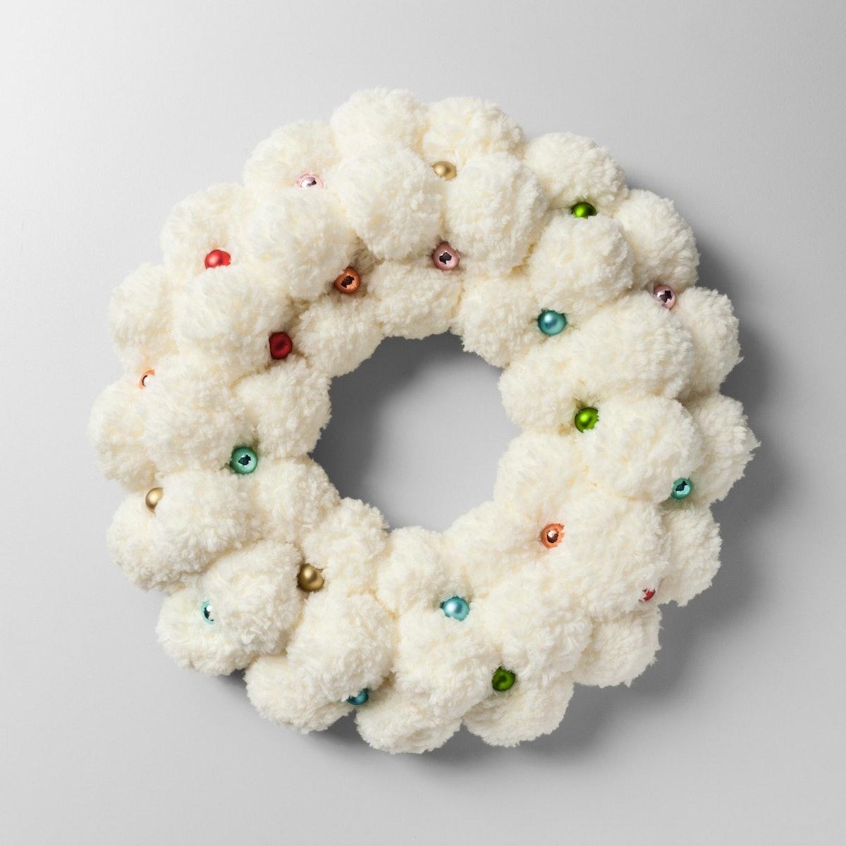 Wreath Pom Pom with Glass Ball