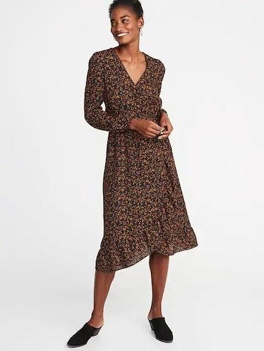 Waist-Defined Ruffle-Trim Faux-Wrap Georgette Dress for Women