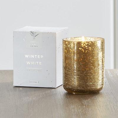 Winter White Mercury Glass Candle