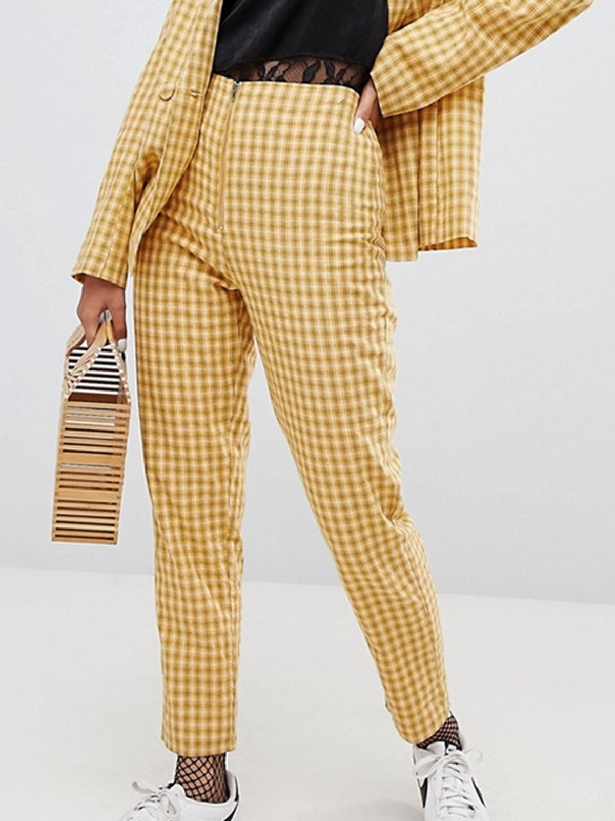 Wild Honey Zip Front Pants in Check Co-Ord