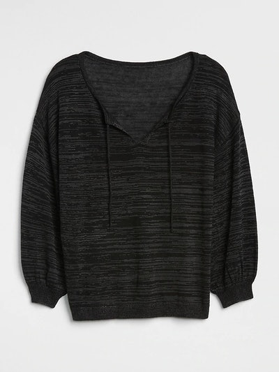 Blouson Sleeve Split-Neck Sweater