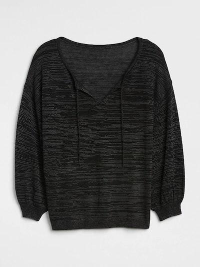 Blouson Sleeve Split-Neck Sweater