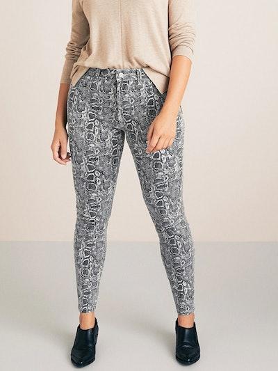 Slim-Fit Snake Print Jeans