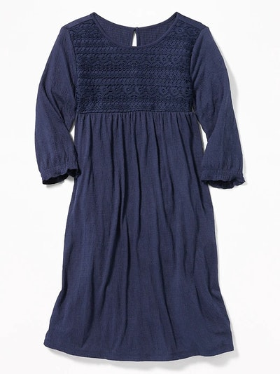 Crinkle Jersey Lace Neck Swing Dress For Girls