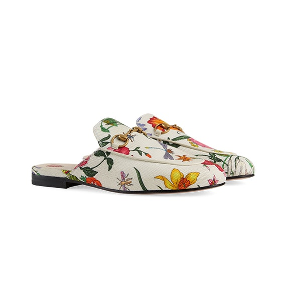 Princetown Flora print canvas slipper