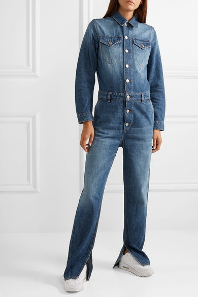 e014fb57853 Shanina Shaik s Denim Jumpsuit Is The Utility Trend At Its Finest