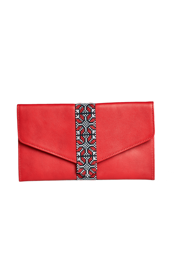 Leather Clutch with Palestinian Embroidery