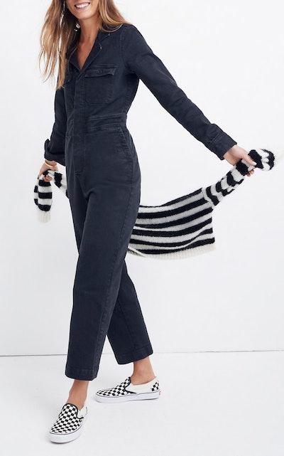 Garment-Dyed Denim Slim Coverall Jumpsuit