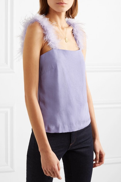 Mariah Feather-Trimmed Crepe Top
