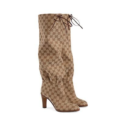 GG canvas mid-heel boot
