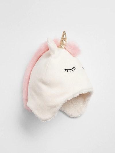 Girl's Unicorn Sherpa Trapper Hat