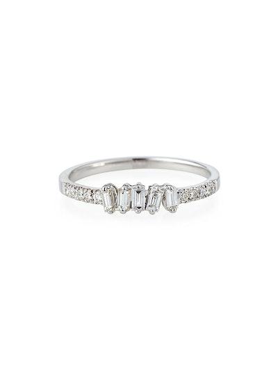 Tilted Baguette Diamond Ring in 18K White Gold