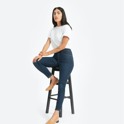 Authentic Stretch High-Rise Skinny Ankle Jean in Dark Blue Wash