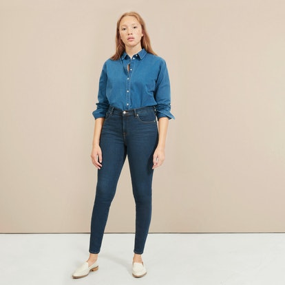 The Authentic Stretch Mid-Rise Skinny in Dark Wash Blue