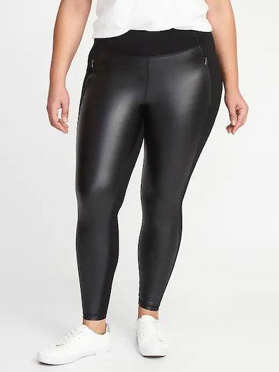 High-Rise Zip-Pocket Faux-Leather/Ponte Plus-Size Street Leggings