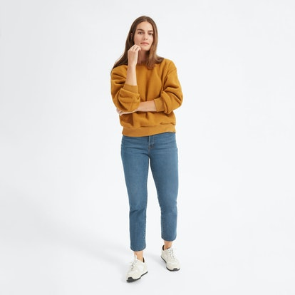 The Authentic Stretch High-Rise Cigarette Ankle Jean in Mid Blue
