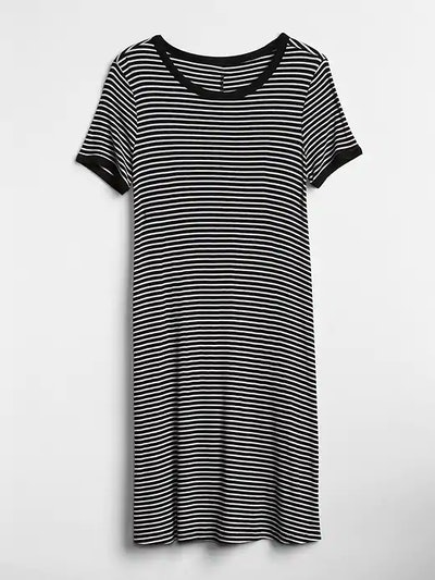 Short Sleeve Ribbed T-Shirt Dress