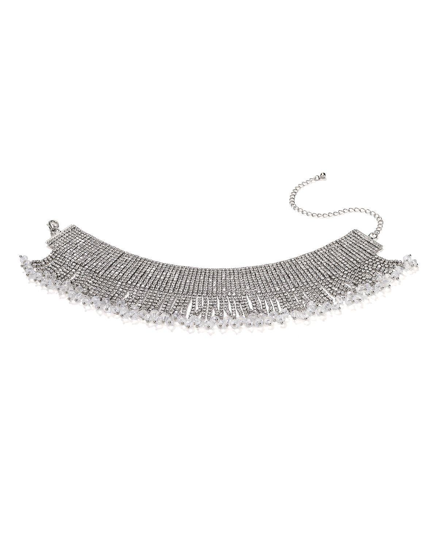 AQUA Fringe Crystal Choker Necklace