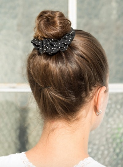 Black and White Polka Dot Scrunchie