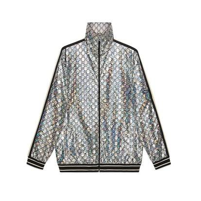 Laminated sparkling GG jersey jacket
