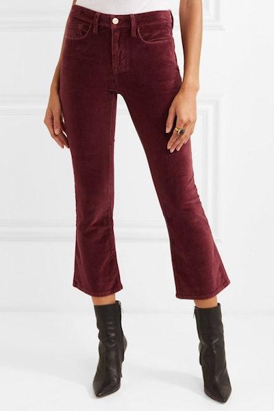 Le Crop Mini Boot Cotton-Blend Velvet Flared Pants