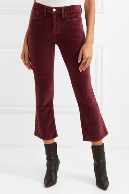 Le Crop Mini Boot Cotton-Blend Velvet Flared Pants