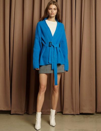 Blue Belted Cardigan