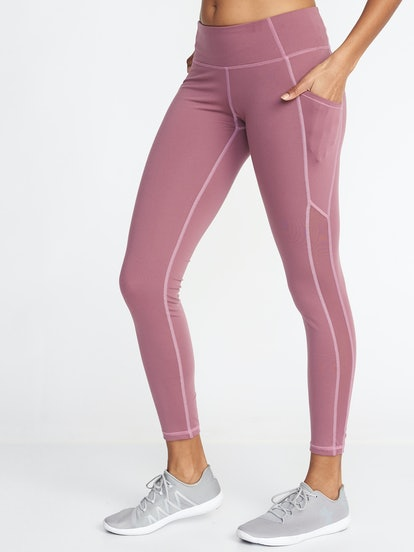 Old Navy Mid-Rise Mesh-Trim Compression Leggings for Women