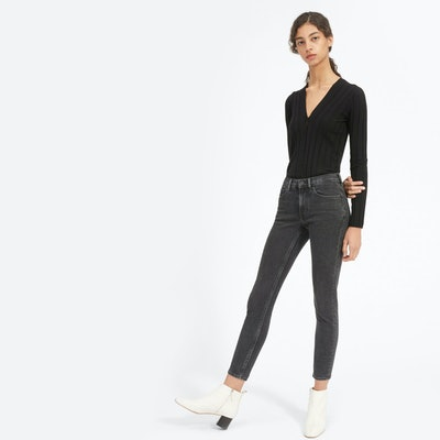 The Authentic Stretch Mid-Rise Skinny Ankle Jean in Washed Black