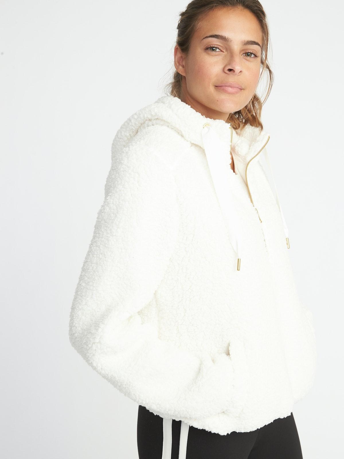 Old Navy Sherpa 1/2-Zip Popover Hoodie for Women