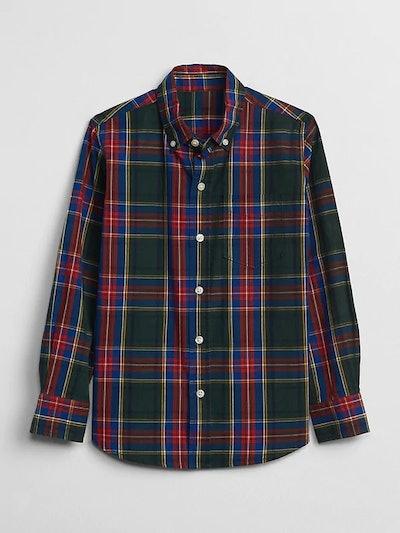 Boy's Poplin Plaid Long Sleeve Shirt