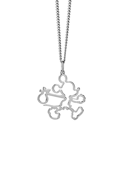 RUNAWAY MICKEY OUTLINE NECKLACE SILVER
