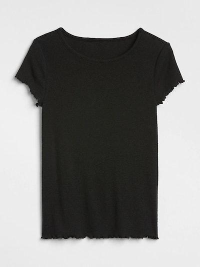 Featherweight Ruffle Sleeve Ribbed T-Shirt