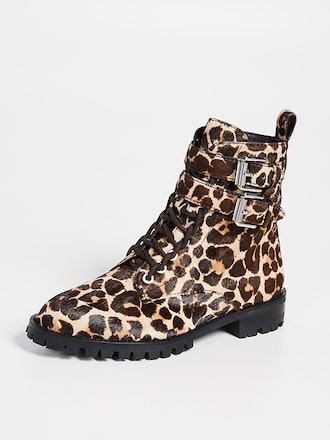 Jaiden Leopard Combat Boots