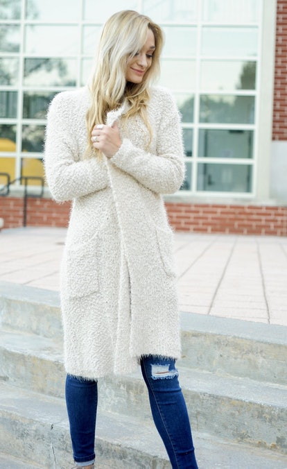 Popcorn Long Cardigan — Cream