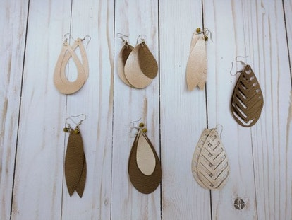 Handmade Faux Leather Earrings - SMALL