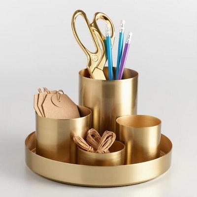 Gold 4 Cup Kiara Desk Organizer With Tray