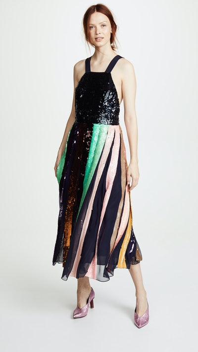 Beaded Sequin Overall Dress