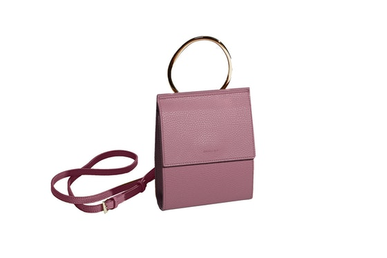 Angela Roi Ring Handle Bag In Nude Pink