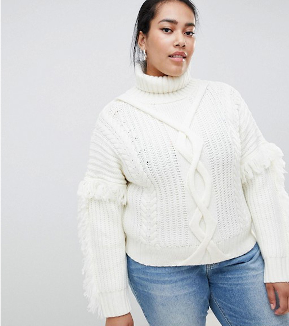 Urban Bliss Plus Cable Knit Roll Neck with Tassle Detail