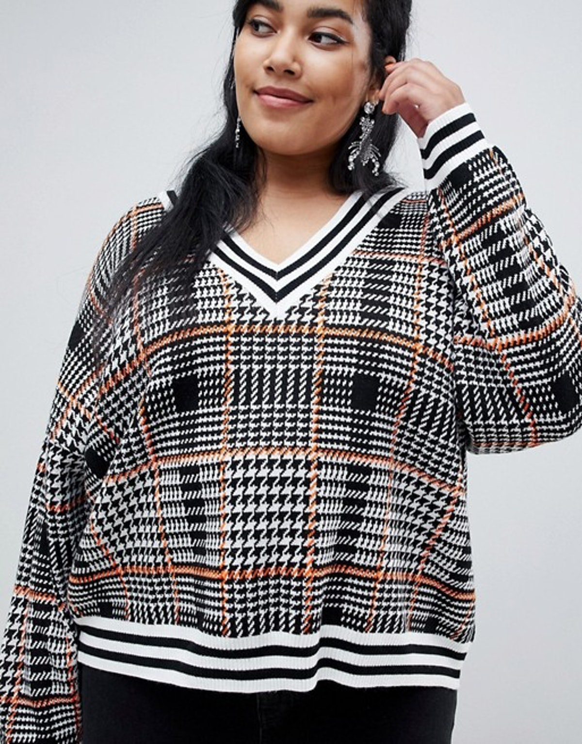 ASOS DESIGN Curve Checked V Neck Sweater with Tipping