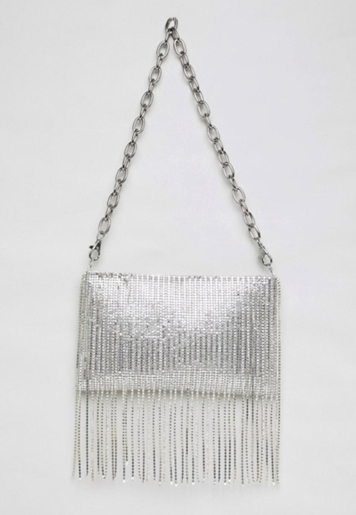 ASOS DESIGN 90s chainmail fringe clutch bag