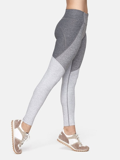 Outdoor Voices 7/8 Tri-Tone Leggings in Graphite/Ash/Dove