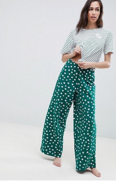 ASOS Design Stripe Tee And Floral Wide Leg Trouser Pyjama Set