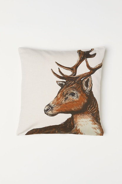 Cotton Cushion Cover in Natural White/Reindeer