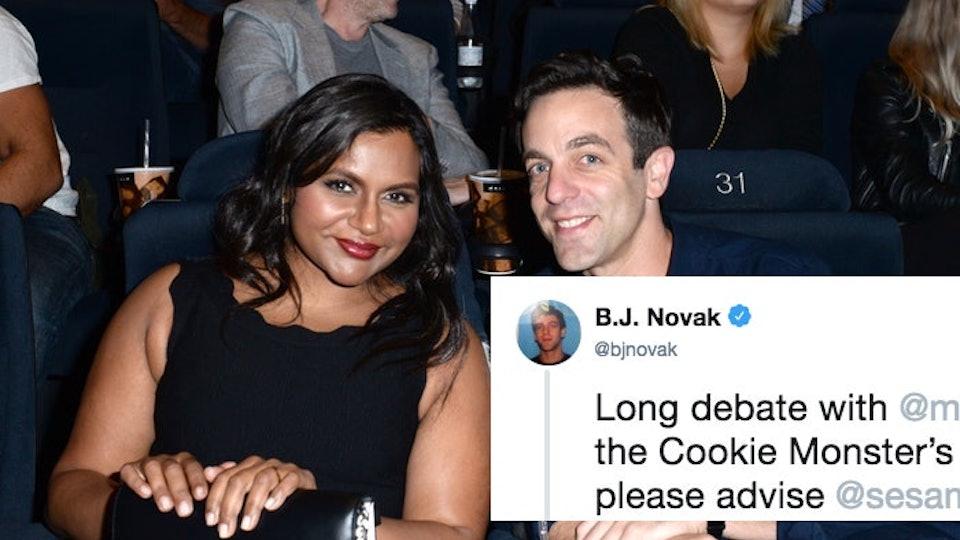 Mindy Kaling B J Novak S Twitter Exchange About Cookie Monster