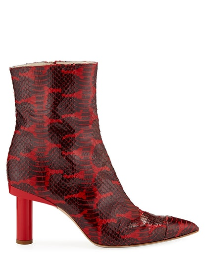 Grand Python-Embossed Leather Booties