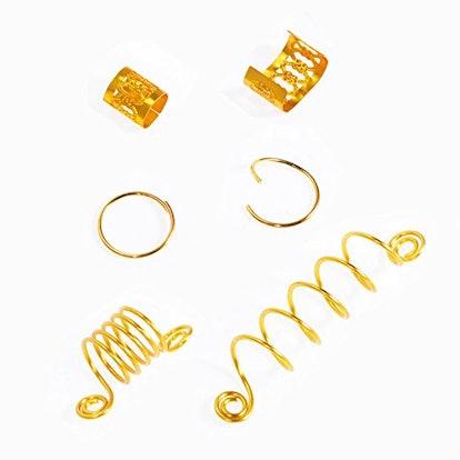 120 Pieces Aluminum Hair Coil Dreadlocks Hair Braid Rings Dreadlocks Metal Hair Cuffs Hair Braiding Beads for Hair Accessory (Gold and Silver)